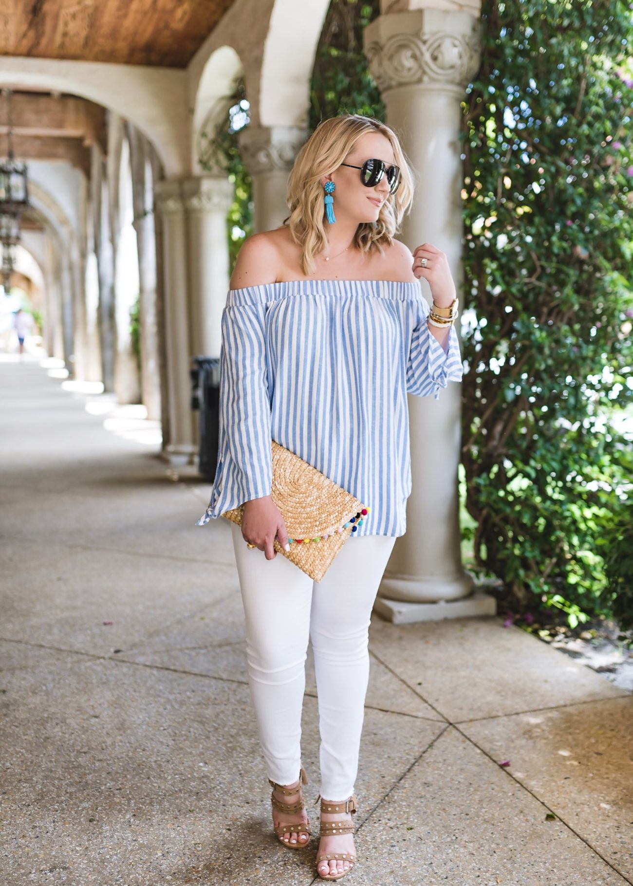 Relaxed Off The Shoulder Striped Top For Women Old Navy