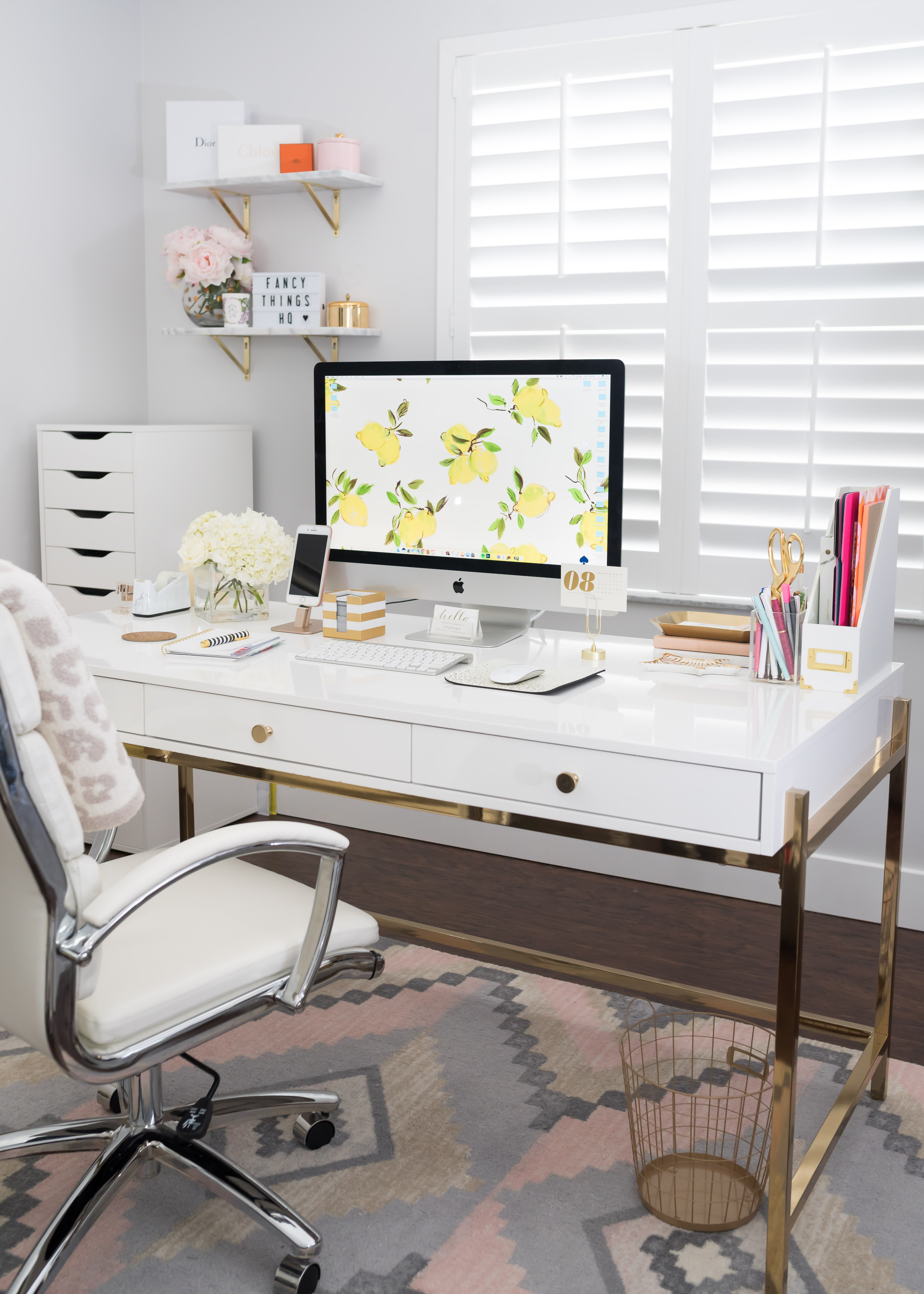 Park Avenue Writing Desk In White And Gold Overstock Fancy