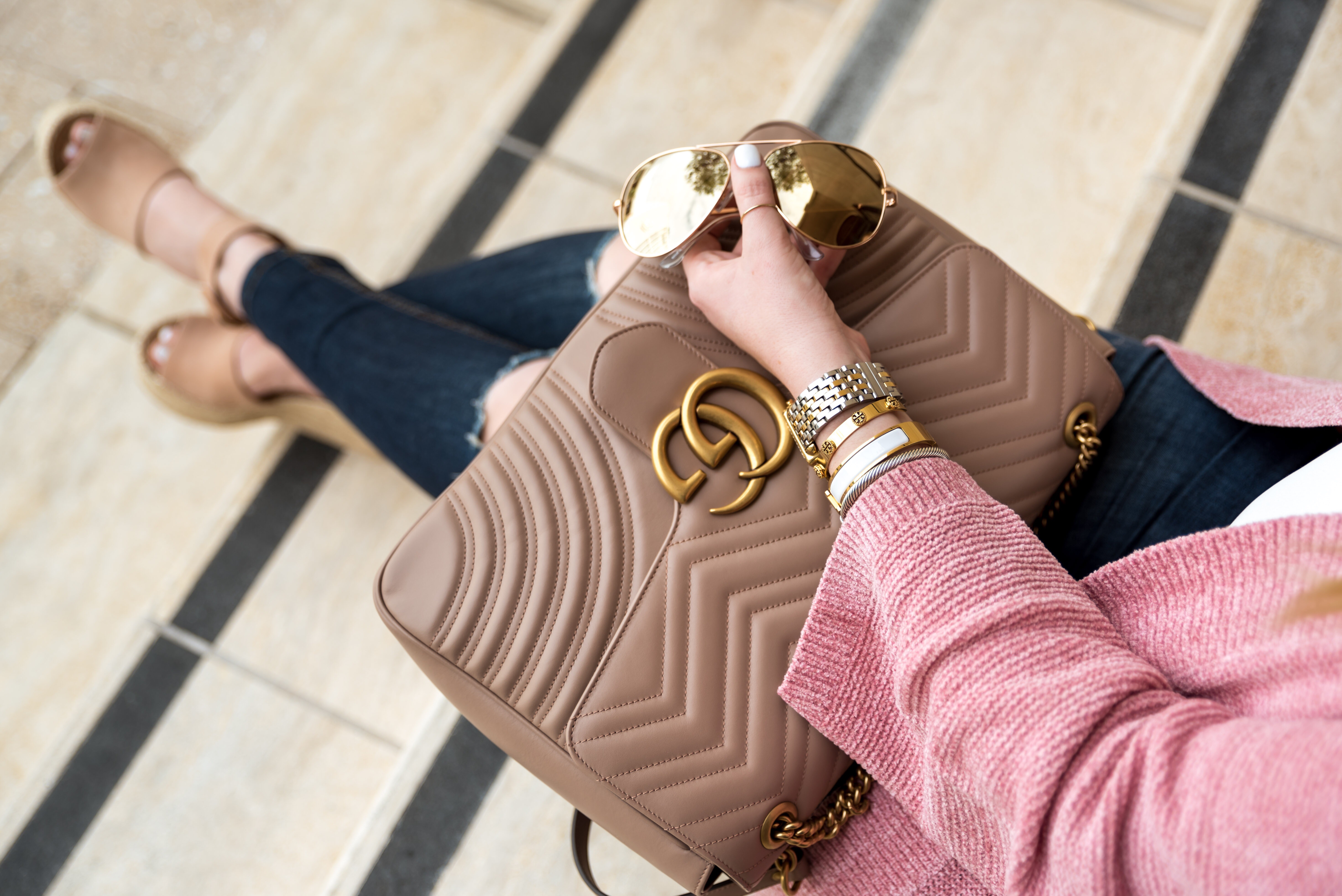 565b3b30cfca GG Marmont Large Chevron Quilted Leather Shoulder Bag Gucci Fancy Things - Fancy  Things