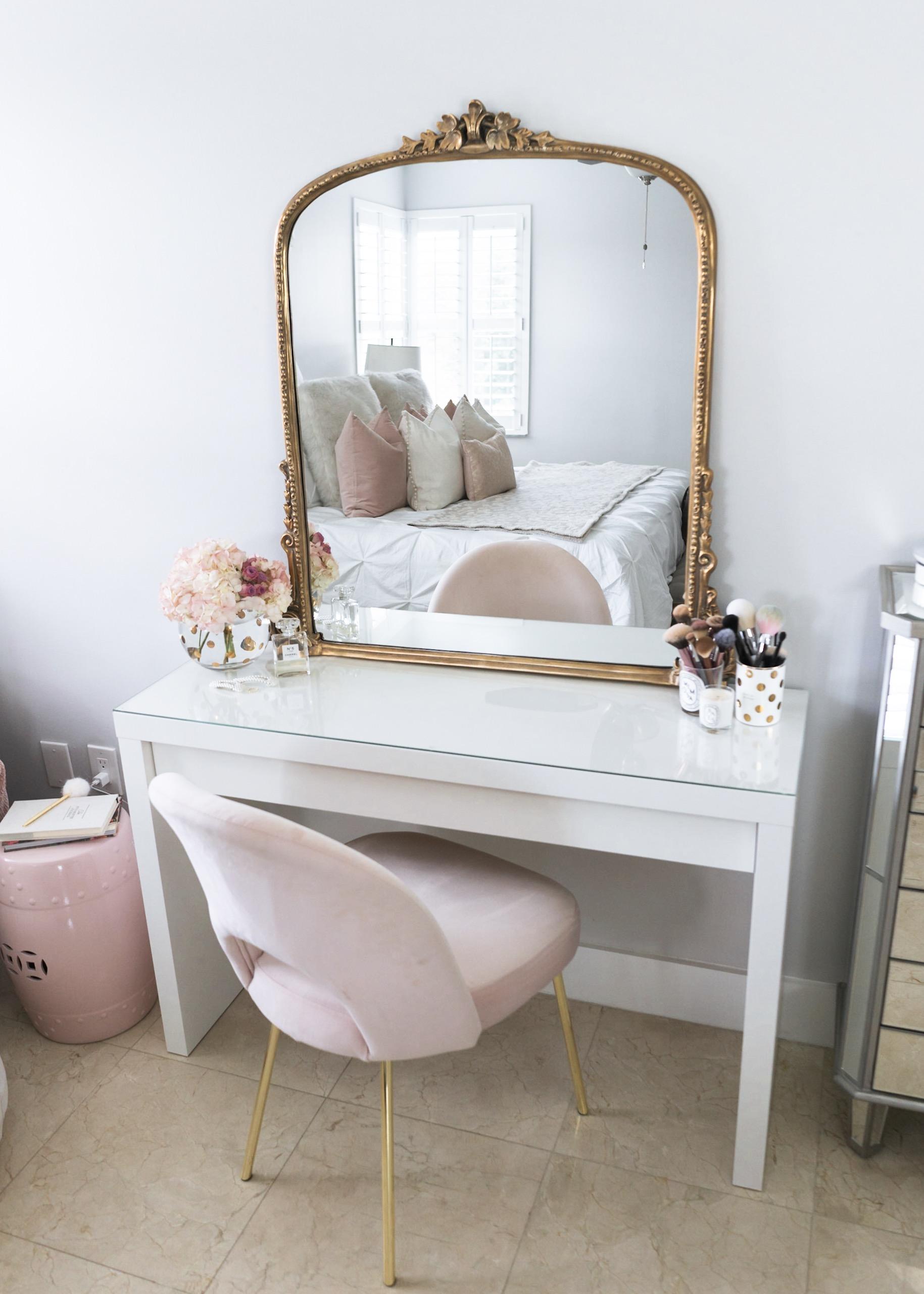 White Vanity Gold Anthropologie Mirror Fancy Things Fancy Things